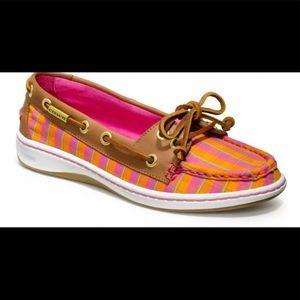Coach Richelle pink & orange boat shoes
